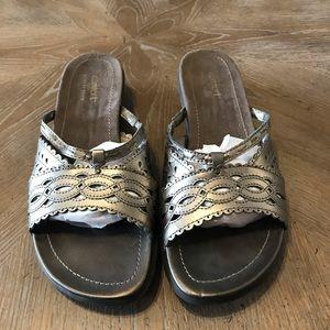 Strictly comfort metallic memory foam sandals
